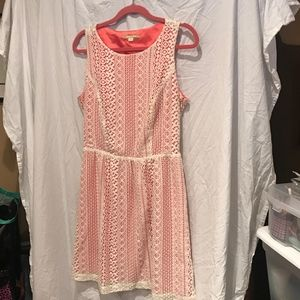 Gianni Bini Lace and coral dress